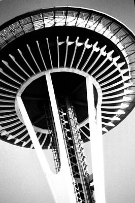 Poster featuring the photograph Black And White Abstract City Photography...space Needle by Amy Giacomelli