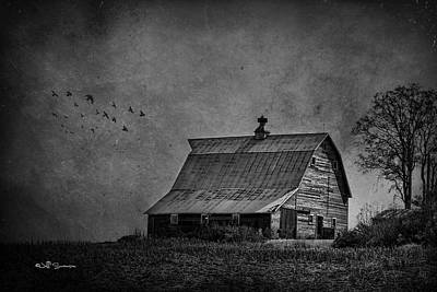 Black And White Barn Poster by Jeff Swanson