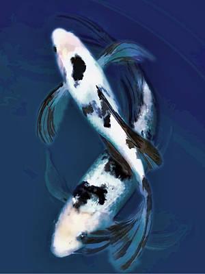 Black And White Bekkos In Deep Blue Pool Poster