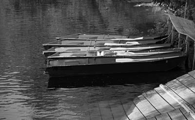 Black And White Boats On Water Poster