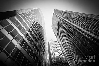 Black And White Chicago Downtown City Office Buildings Poster by Paul Velgos