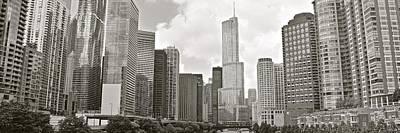 Black And White Chicago Panoramic Poster