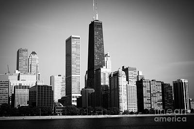 Black And White Chicago Skyline With Hancock Building Poster by Paul Velgos