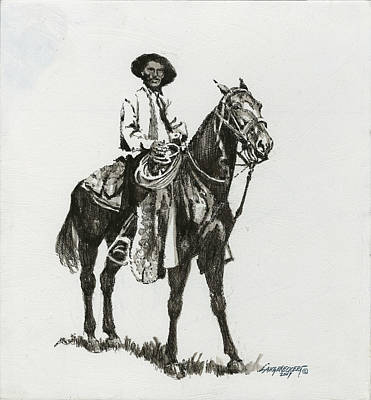 Black And White - Cowboy Poster
