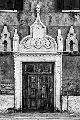Black And White Door In Venice Poster