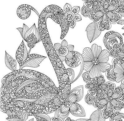 Black And White Flamingo Poster by Valentina Harper