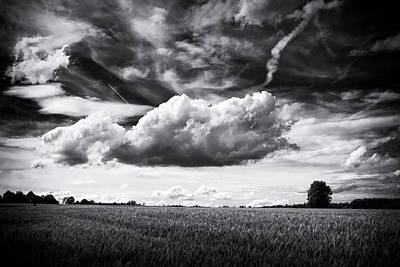 Black And White Landscape With Dramatic Sky And Clouds Poster
