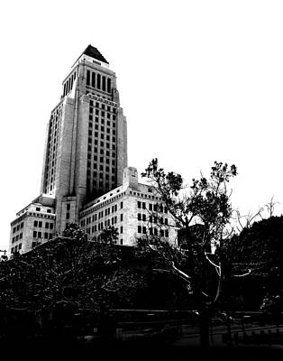 Poster featuring the photograph Black And White Los Angeles Abstract City Photography...la City Hall by Amy Giacomelli
