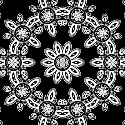 Black And White Medallion 8 Poster by Angelina Vick