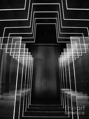 Black And White Neon Cross At The Billy Graham Library  Poster