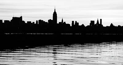 Poster featuring the photograph Black And White Nyc Morning Reflections by Lilliana Mendez