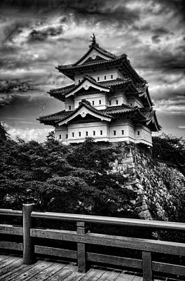 Black And White Of Hirosaki Castle In Japan Poster by David Smith