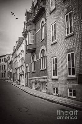 Black And White Old Style Photo Of Old Quebec City Poster by Edward Fielding