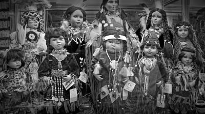Black And White Shop Display Of American Indian Dolls Poster