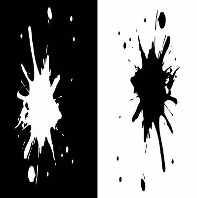 Black And White Splashes Digital Painting Poster