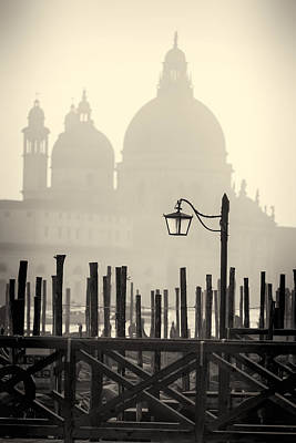 Black And White View Of Venice Poster