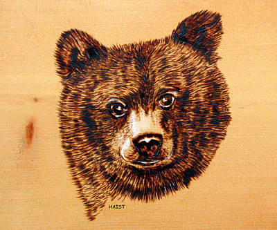 Poster featuring the pyrography Black Bear Cub by Ron Haist