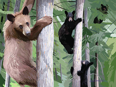 Black Bear Family Poster