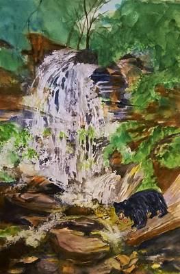 Black Bear Fishing At The Falls Poster by Ellen Levinson