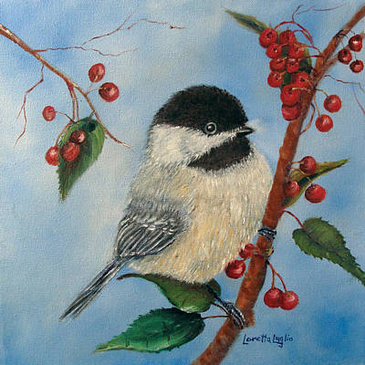 Black Capped Chickadee And Winterberries Poster