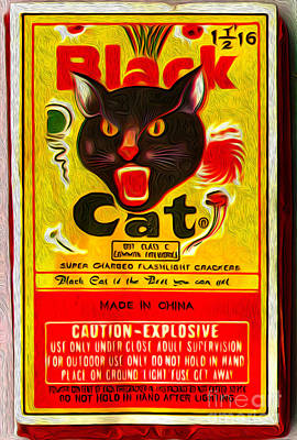Black Cat Fireworks Poster by Gregory Dyer