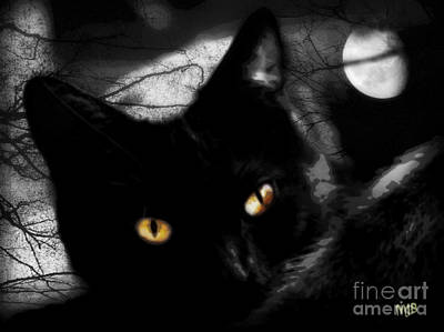 Poster featuring the digital art Black Cat Golden Eye by Mindy Bench