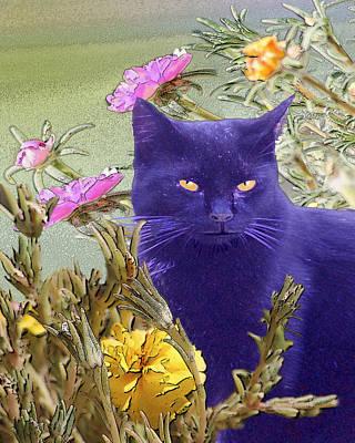 Black Cat Lurking In The Portulaca Poster