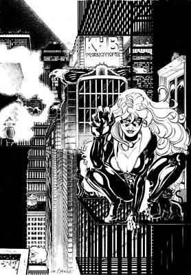 Black Cat On Fire Escape Poster