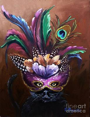 Black Cat With Venetian Mask Poster