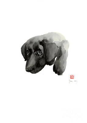 Black Dog Labrador Gold Golden Retriever Eye Portrait Animal Animals Pet Pets Watercolor Painting Poster by Johana Szmerdt
