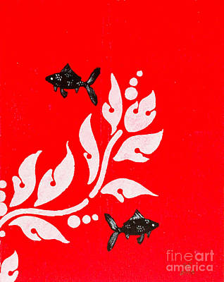 Black Fish Left Poster by Stefanie Forck