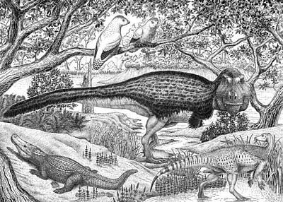 Black Ink Drawing Of Extinct Animals Poster by Vladimir Nikolov