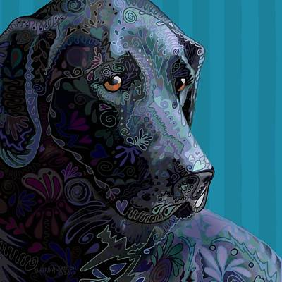 Black Lab Squared Poster by Sharon Marcella Marston
