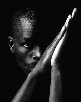 Black Man With Praying Hands Poster