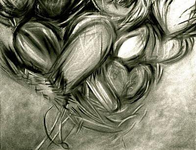 Black N' White-hearts Soar-thinking Of You Poster by Juliann Sweet