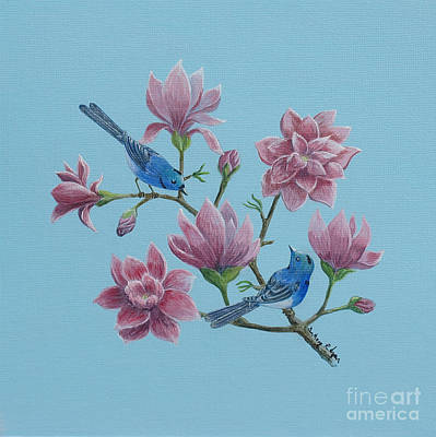 Poster featuring the painting Black Naped Blue Flycatchers In Magnolias by Anthony Lyon