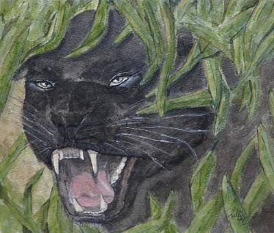 Poster featuring the painting Black Panther Fury by Kelly Mills
