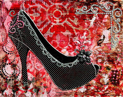 Black Polka Dot Shoes With Red Abstract Background Poster by Janelle Nichol
