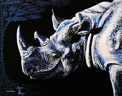 Poster featuring the painting Black Rino by Viktor Lazarev