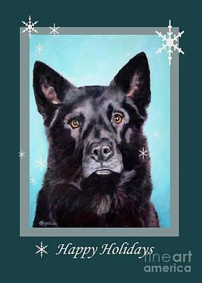Black Shepard Mix Portrait Holiday Poster