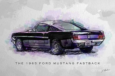 Black Stallion 1965 Ford Mustang Fastback Poster by Gary Bodnar