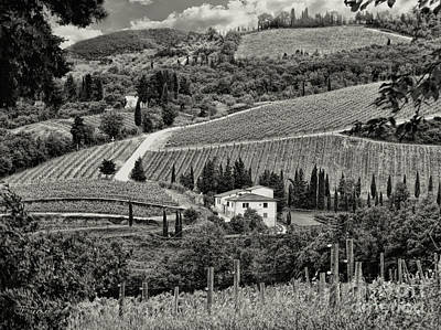 Black White Tuscan Countryside Poster