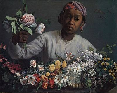 Black Woman With Peonies Poster