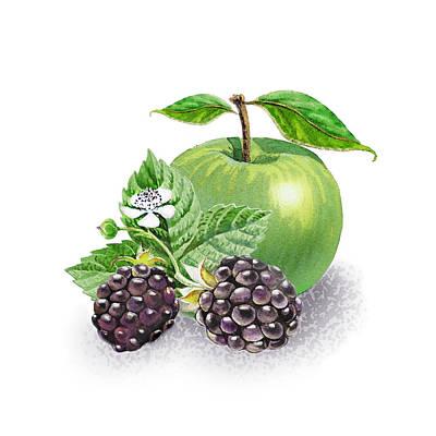 Blackberries And Green Apple Poster by Irina Sztukowski