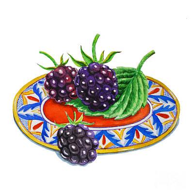 Blackberries On Deruta Plate Poster by Irina Sztukowski