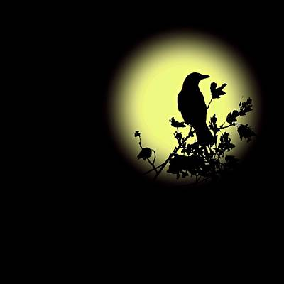 Blackbird In Silhouette II Poster by David Dehner
