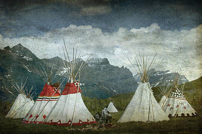 Blackfoot Camp At A Summer Powwow At St. Mary By Glacier National Park Poster by Randall Nyhof