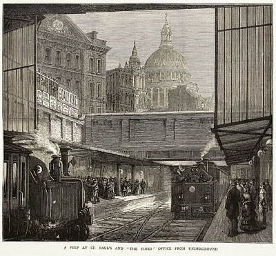 Blackfriars Underground Station Poster by British Library