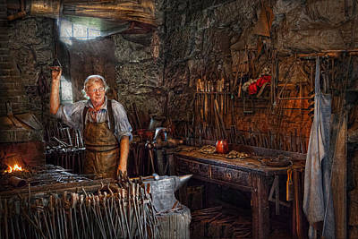 Blacksmith - Working The Forge  Poster by Mike Savad