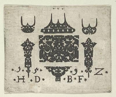 Blackwork Print With A Horizontal Panel Poster by Hans de Bull